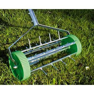 New Heavy Duty Garden Lawn Roller Aerator Steel Spikes eBay